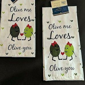 """Olive Me Loves Olive You""  Kitchen Towel."